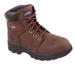 Men's Skechers Dark Brown Relaxed Fit  Steel Toe 6 Inch Boot