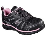 Women's Skechers Black/Pink  Puncture Resistant Safety Toe Athletic