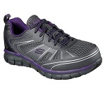 Women's Skechers Charcoal/Purple Puncture Resistant Safety Toe Athletic