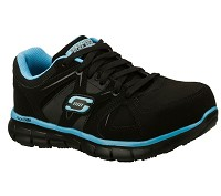 Women's Skechers Black/Blue Alloy Safety Toe Athletic