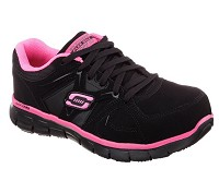 Women's Skechers Black/Pink Alloy Safety Toe Athletic