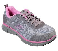 Women's Skechers Grey/Pink Alloy Safety Toe Athletic