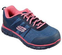 Women's Skechers Navy/Pink Alloy Safety Toe Athletic