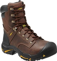 "Men's KEEN Cascade Brown 8"" Waterproof Made in America Steel Toe Boot"