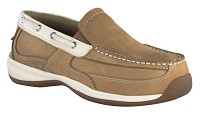 Women's Rockport  Tan/Cream Steel Toe Slip-On  Boat Shoe